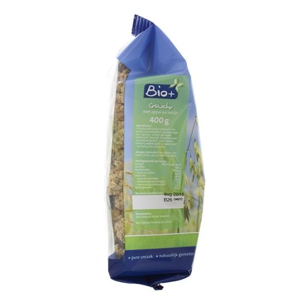 Bio+ Crunchy Muesli Appel en Rozijnen achterkant