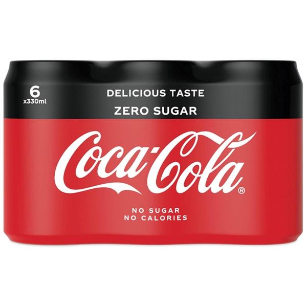 Coca Cola zero blik 6x33 cl voorkant
