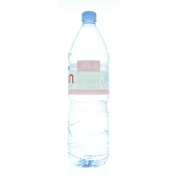 Evian Mineraalwater achterkant