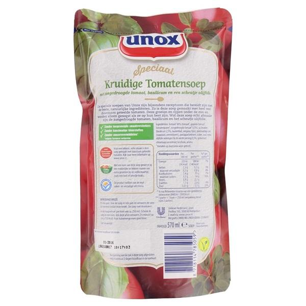 Unox Soep In Zak Kruidige Tomaat achterkant