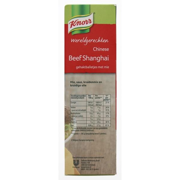 Knorr Wereldgerechten Beef Shanghai achterkant