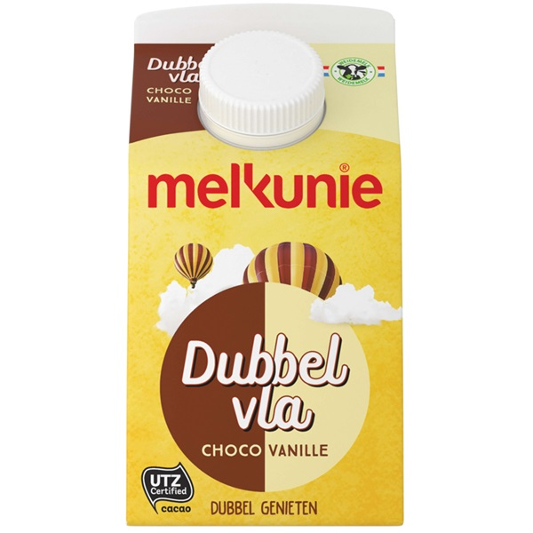 Melkunie Dubbelvla Vanille/Chocolade voorkant
