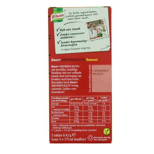 Knorr Drinkbouillon Tomaat achterkant