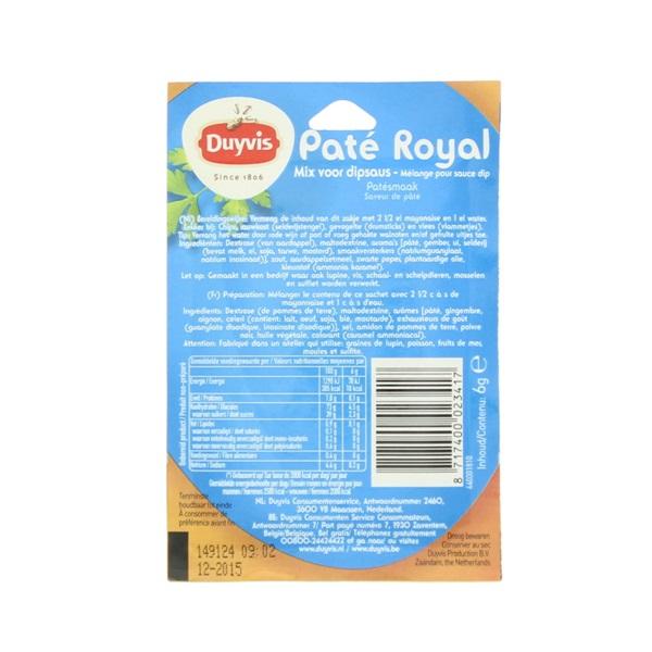 Duyvis Dipsaus Pate Royal achterkant