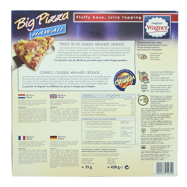 Wagner Big Pizza Pizza Hawaii achterkant