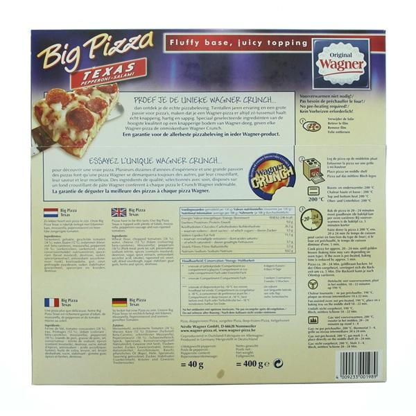 Wagner Big Pizza Pizza Texas achterkant