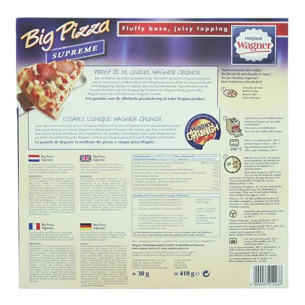 Wagner Big Pizza Pizza Supreme achterkant