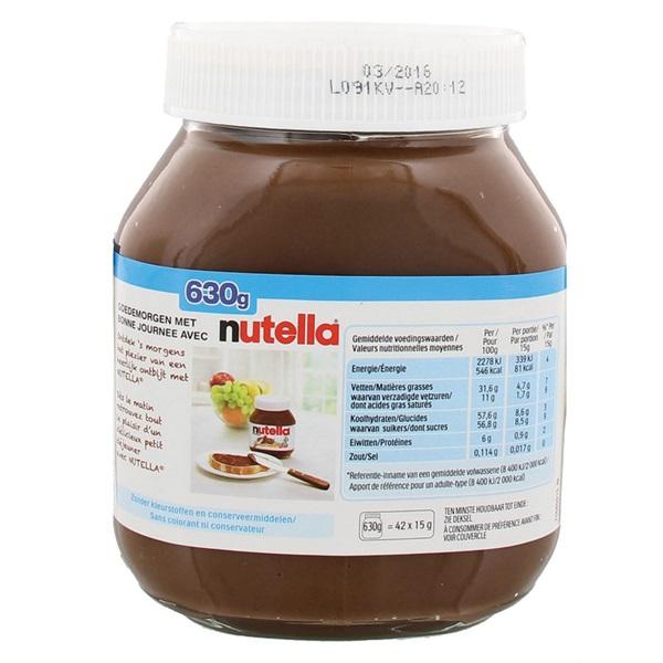 Nutella Hazelnootpasta achterkant