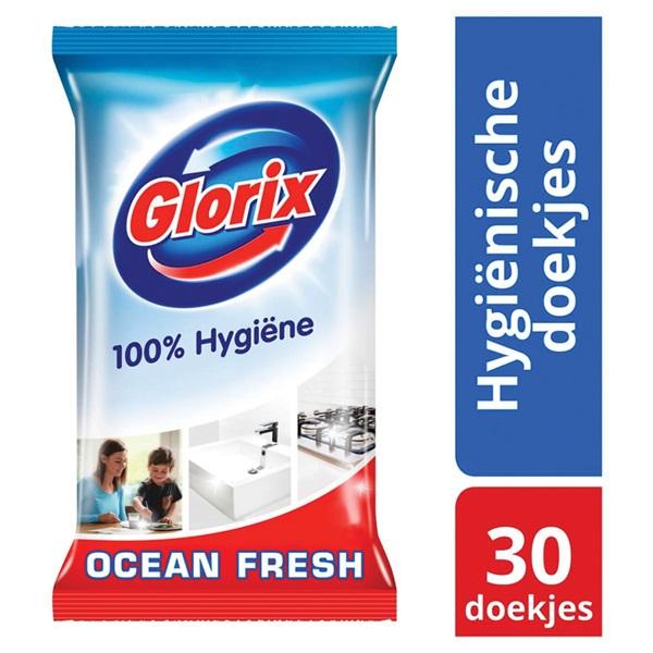 Glorix allesreiniger hygiënische doekjes ocean fresh achterkant