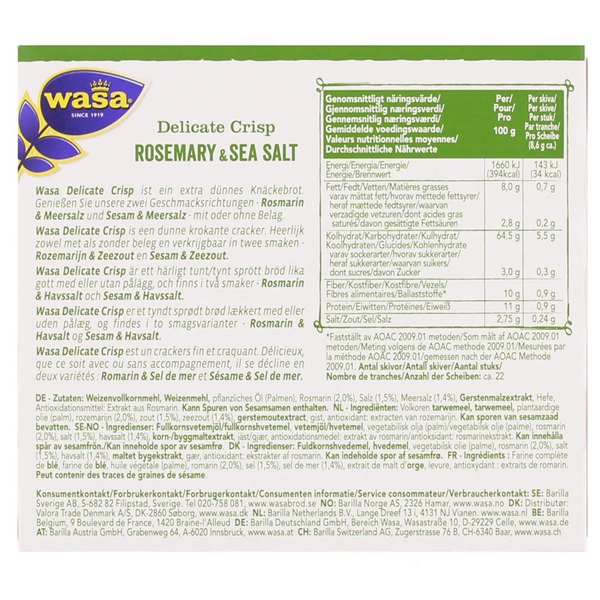 Wasa Delicate Thin Crackers Rosemary achterkant