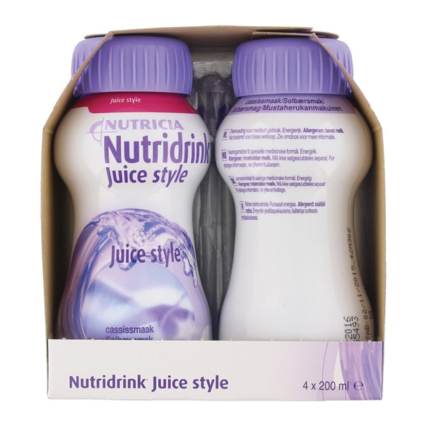 Nutricia Juice Style Cassis 4x200 ml achterkant
