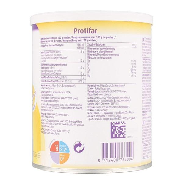 Nutricia Protifar 225 gram achterkant