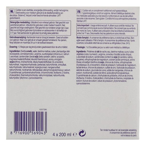 Nutricia Cubitan Aardbei 4x200 ml achterkant