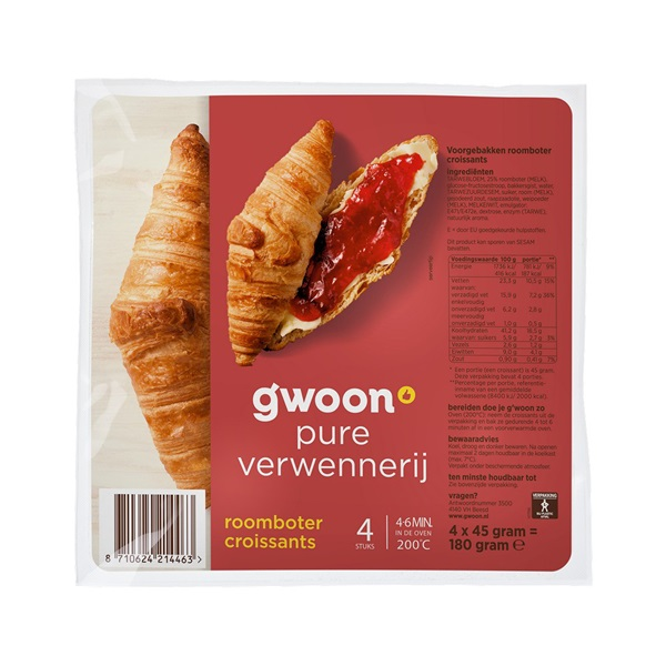 Gwoon roomboter croissants voorkant