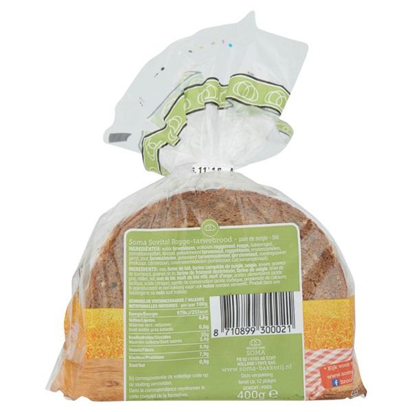Soma Roggebrood Sovital achterkant