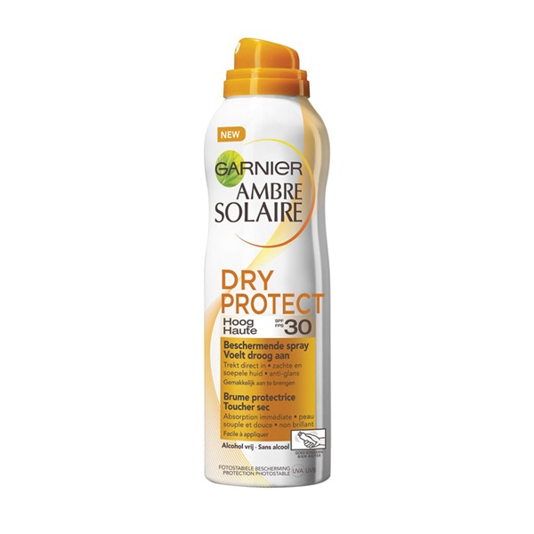 Ambre Solaire zonnebrand Dry Protect Spray factor 30 voorkant