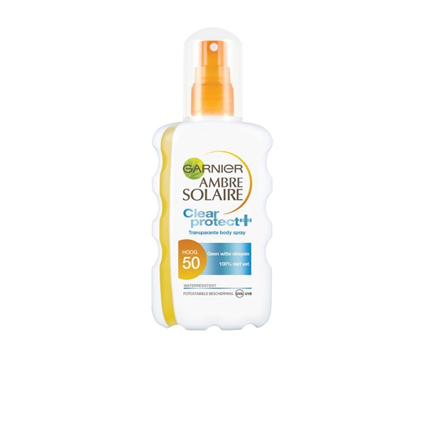 Ambre Solaire Zonnebrand Clear Protect Spray factor 50+ voorkant