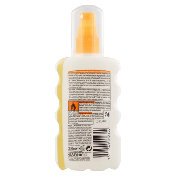 Ambre Solaire Zonnebrand Clear Protect Spray factor 50+ achterkant