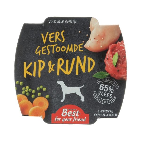 Best for your Friend Hondenvoer Gestoomde maaltijd met kip en rund voorkant