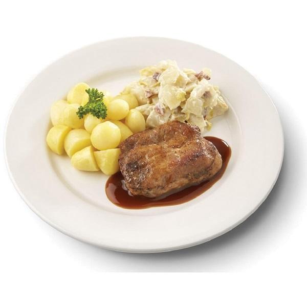 Culivers (118) halskarbonade in jus, witlof met bacon en gekookte krieltjes zoutarm voorkant