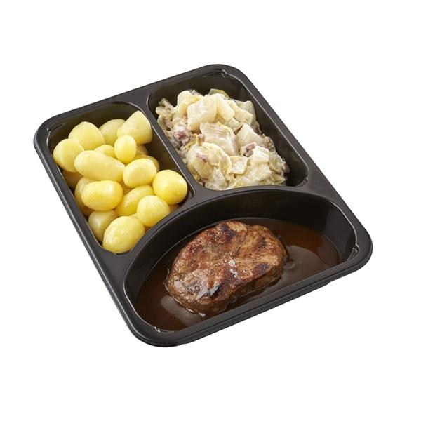 Culivers (118) halskarbonade in jus, witlof met bacon en gekookte krieltjes zoutarm achterkant