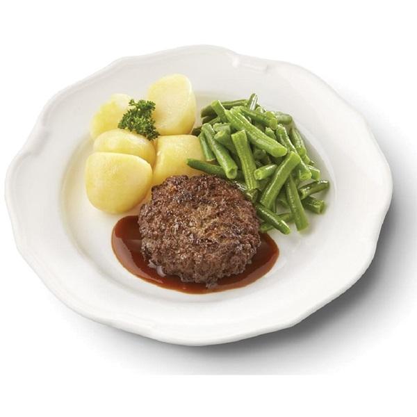 Culivers (1) rundertartaartje met jus, sperziebonen en gekookte aardappelen gluten- en lactosevrij voorkant