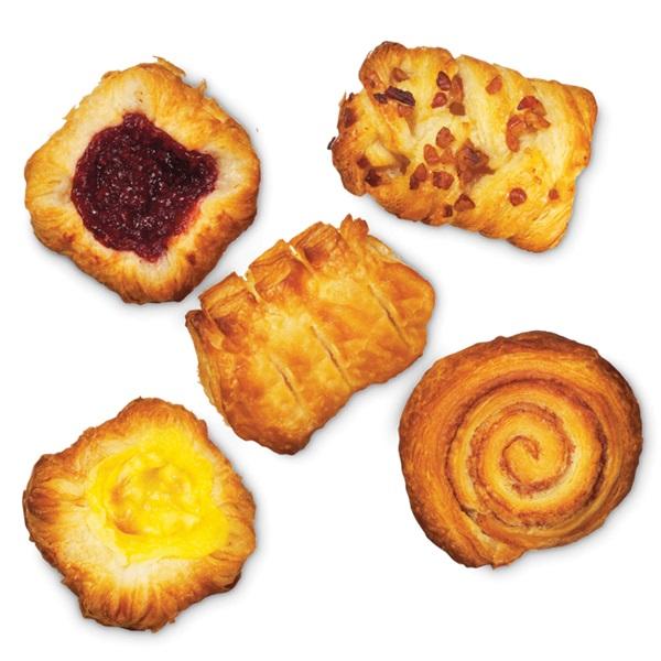 Mini Danish Mini kaneelkoek, pecan-noten koek, vanillekroon, frambozenkroon en appelkroon voorkant