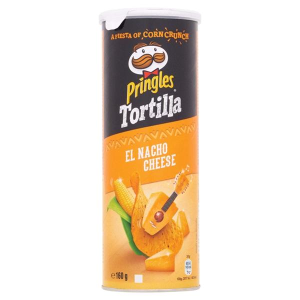 Pringles tortilla chips nacho cheese voorkant
