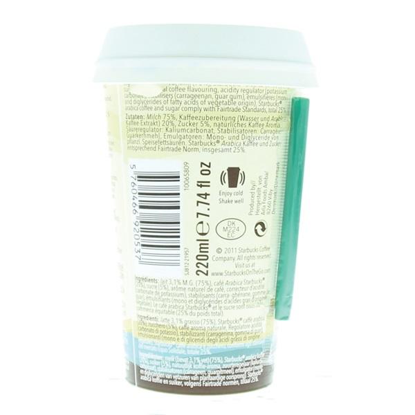 Starbucks chilled classics caffe latte achterkant