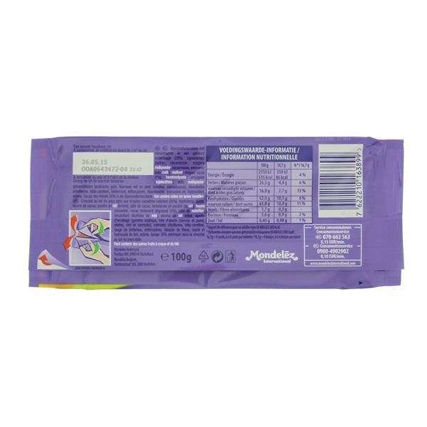 Milka Chocolade Tablet Confetti achterkant