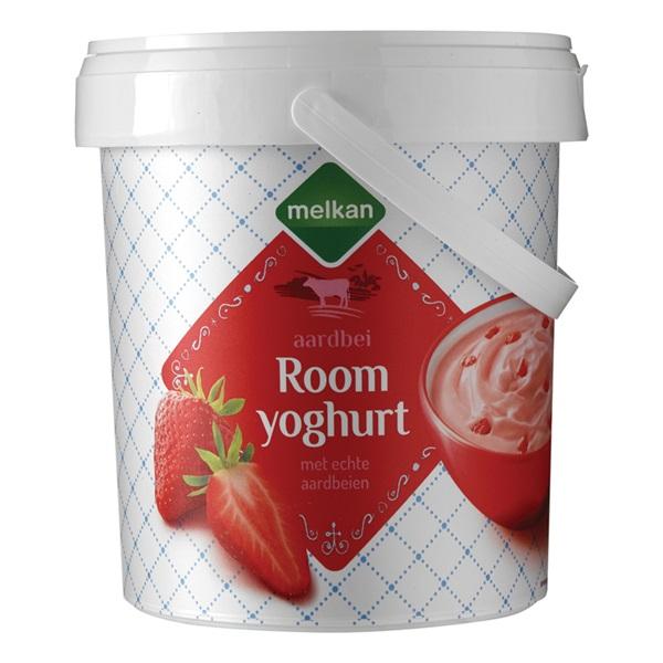 Melkan Roomyoghurt Aardbei voorkant