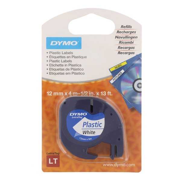 Dymo tape white 12mm x 4m voorkant