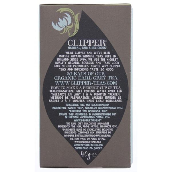 Clipper Thee Organic Earl Grey Tea achterkant