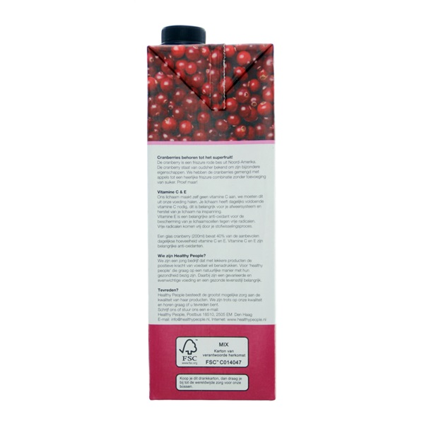 Healthy People Vruchtensap Cranberry achterkant