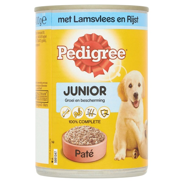 Pedigree Hondenvoer Junior Paté Met Lamsvlees En Rijst voorkant