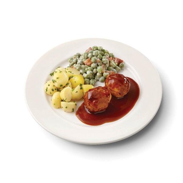 Culivers (106) gehaktballetjes met jus, kapucijners à la crème met bacon en mini krieltjes met tuinkruiden zoutarm voorkant