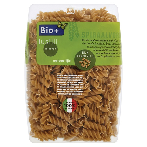 Bio+ pasta Fusilli volkoren voorkant