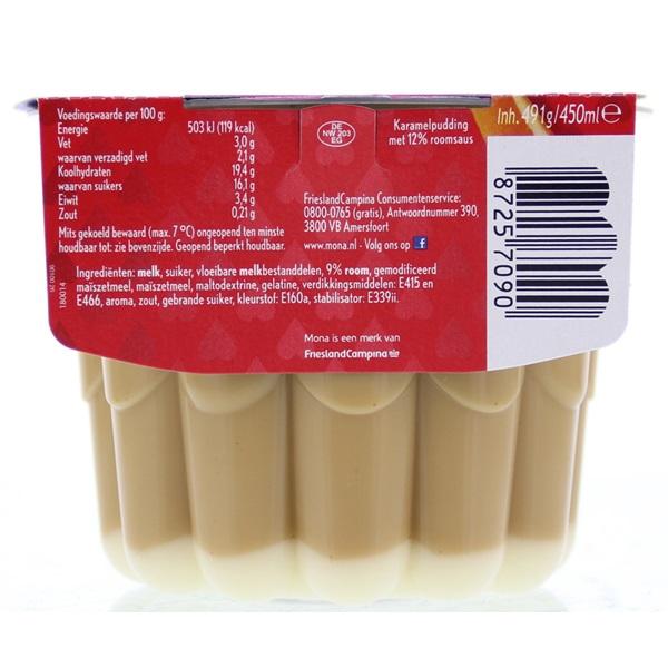 Mona Pudding Caramel Met Saus achterkant