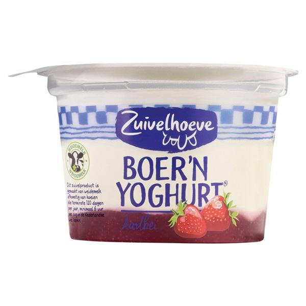 Zuivelhoeve boer'n yoghurt aardbei voorkant