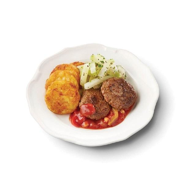 Culivers (15) lamsburgers in zigeunersaus, koolrabi met kruiden en röstirondjes voorkant