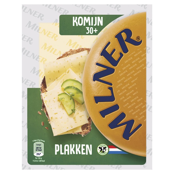 Milner kaasplakken licht gerijpt komijn 30+ voorkant