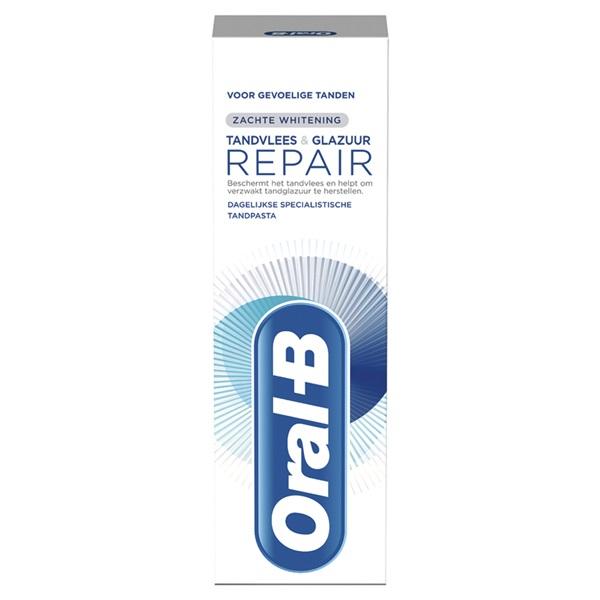 Oral B tandpasta tandvlees en glazuur repair zachte whitening voorkant