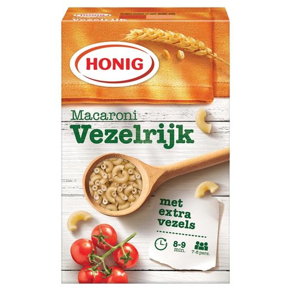 Honig macaroni vezelrijk voorkant