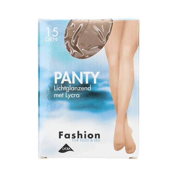 Foot-Leg panty lichtglanzend natuur maat 44-48, 15 denier voorkant