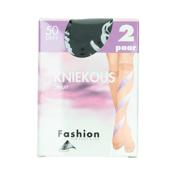 Fashion kniekousen steun zwart maat 39-42, 50 denier voorkant