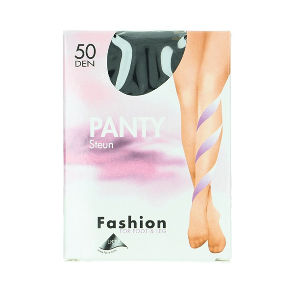 Fashion panty steun zwart maat 44-48, 50 denier voorkant