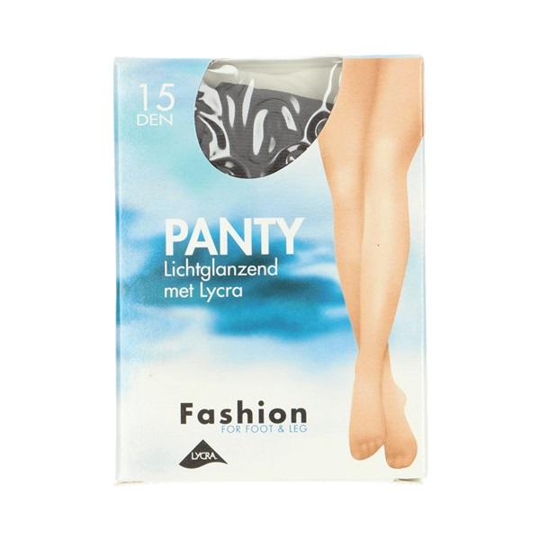 Fashion panty lichtglanzend grafiet maat 36-40, 15 denier voorkant