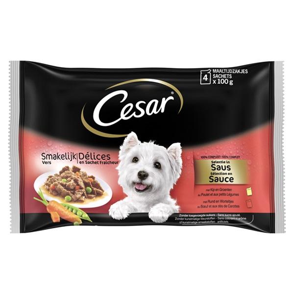 Cesar smakelijk vers hondenvoer selectie in saus maaltijdzakjes voorkant