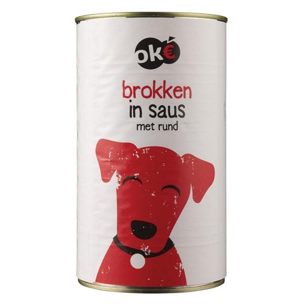 Oke hondenvoer brokken in saus met rund voorkant