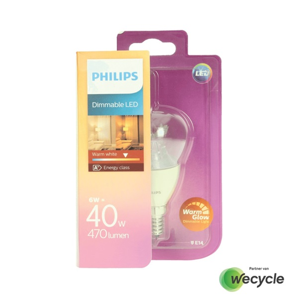 Philips LED kogellamp E14/6W (40W) voorkant